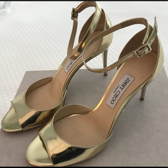 9d431f309a24 Jimmy Choo Annie Gold Ankle Strap Heels 39.5.